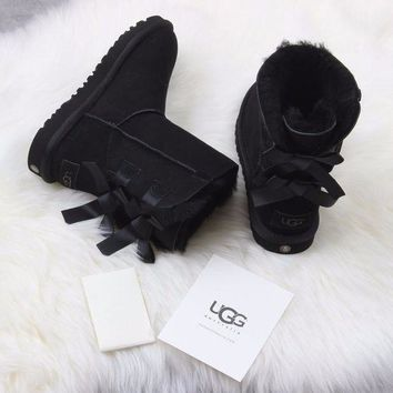 VON3TL Sale Ugg 1016225 Ribbon Bow Black Classic Bailey Bow II Boot Snow Boots