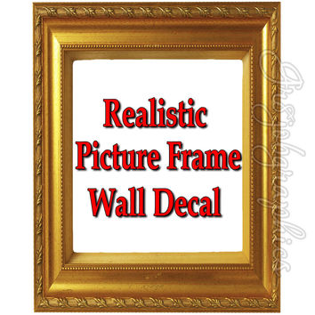 Picture Frame Wall Decal Gold Home Decor Sticker Beautiful Frame Wall Art PF2