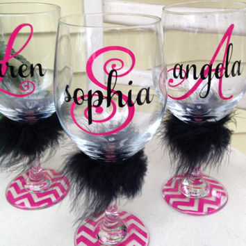 Personalized wine glass, monogrammed wine glasses, Name on a wine glass, Furture Mrs, bridal party wine glasses, gift for girlfriend,
