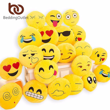 BeddingOutlet Cute Emoji Cushion Home Smiley Face Pillow Stuffed Toy Soft Plush For Sofa Car Seat 32cmx32cm Best Sell