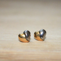 Vintage Heart Two Tone Earrings, Gold and Silver split heart earrings, Dainty Heart Earrings, Feminine, Dainty, Unique Detachable Jewelry