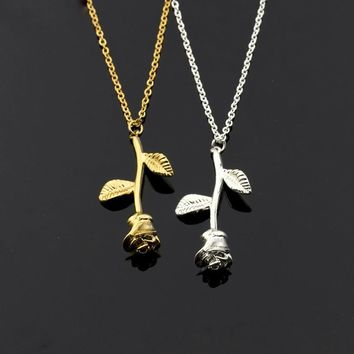 Gold Rose Flower Charm Necklace