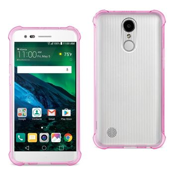 LG Fortune/ Phoenix 3/ Aristo Clear Bumper Case With Air Cushion Protection (Clear Hot Pink)