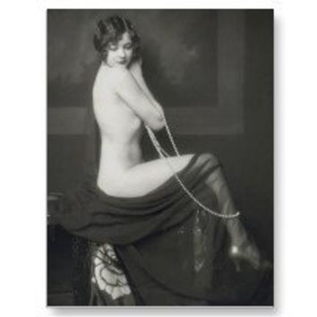 Vintage Naughty French Pin Up Girl Photograph Post Card