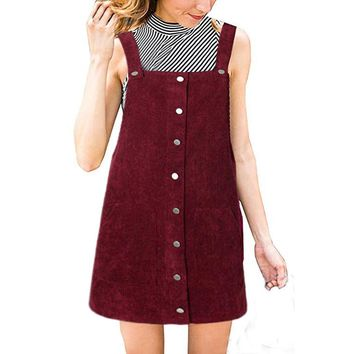 Fashion Button Dress Women Corduroy Straight Suspender Mini Bib Overall Pinafore Casual Dresses Solid Pocket Dress Summer @30