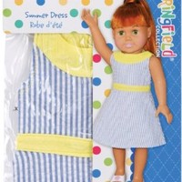 Fiber Craft Springfield Collection Summer Dress for Doll, Blue/White Stripe/Yellow Trim