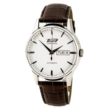 Tissot T0194301603101 Men's Heritage Visodate Silver Dial Brown Leather Strap Automatic Watch