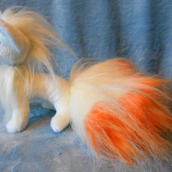 Pokemon inspired standing Ninetales Ninetails Kyukon (20 cm high plush, small size) plushie made of minky and faux fur, super cuddly!
