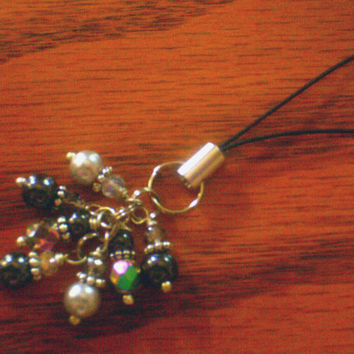 Silver Pearl, Hematite, & Crystal Dangle Purse / Phone Charm