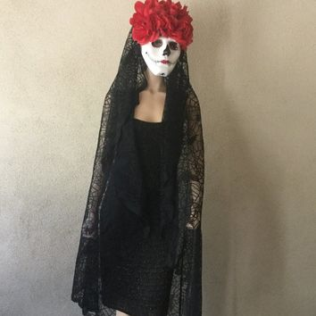 Day of The Dead,Dia De Los Muertos,Halloween Mask,Halloween Headress,Skull Mask,Black Veil Mantilla,Masquerade Mask,Red Roses Headress Mask