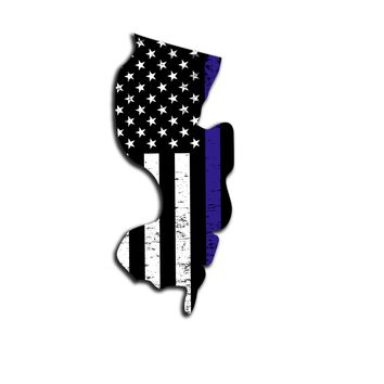 Mew Jersey Distressed Subdued US Flag Thin Blue Line/Thin Red Line/Thin Green Line Sticker. Support Police/Firefighters/Military