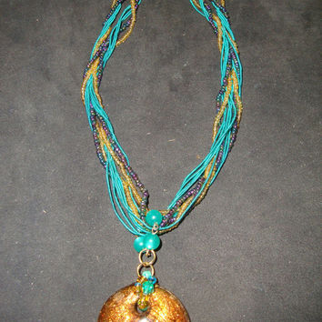 Dichroic Glass Large Round Pendant with Colorful Twisted Seed Bead & Bold Green Cord Necklace,