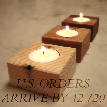 Three Wood Candle Holders From Reclaimed Cedar Wood
