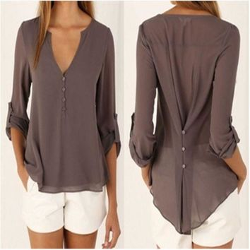 ESBONPR Sexy Deep V Neck Button Slim Waist Long Sleeves Chiffon Blouse In Plus Size