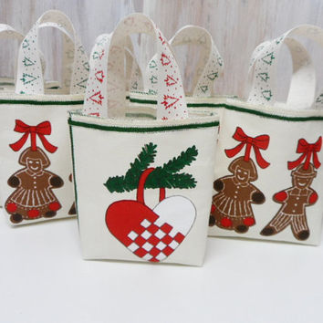 Christmas Gift Bags. Nordic Linen Collection. Christmas Holiday Gift Bags