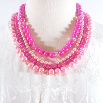 Hot Pink Elegant Four Strands with Tabithian Claps Necklace