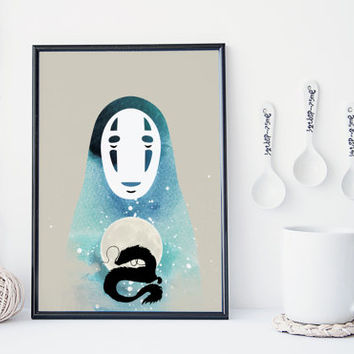 Spirited away no face art print, studio ghibli wall art, miyazaki print, home wall decor, wall art, noface, studio ghibli, apartment decor,