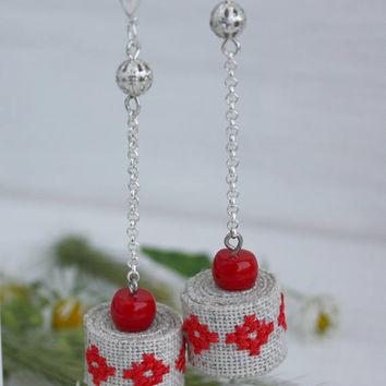 Embroidered linen stud earrings hand embroidered jewelry Red Cherry coral Ukrainian vyshyvanka bohemian dangling chain gift for mother boho
