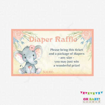 Elephant Baby Shower Girl Pink Diaper Raffle Ticket, Diaper Raffle Sign, Invitation Insert, Watercolor Baby Shower, Printable Download, ELWP