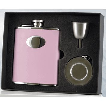Visol Bridesmaid Pink Hip Flask -  Telescopic Shot Cup and Funnel Gift Set - 6 oz