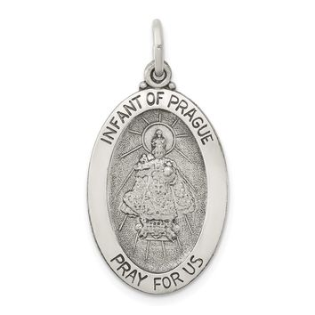 Sterling Silver Antiqued Infant of Prague Medal