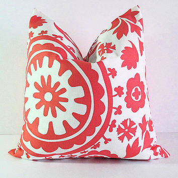 "Pillow CORAL Accent Pillow Cover ONE 20 inch Salmon Pink & White Pillowcase 20"" SUZANI"