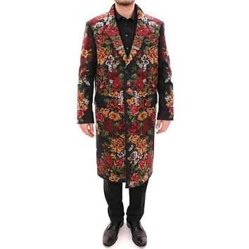 Dolce & Gabbana Multicolor Baroque Brocade Floral Coat Jacket