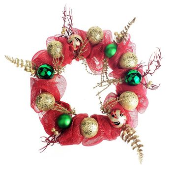 Decorated Mesh Ribbon Glitter Twigs Christmas Wreath, Red/Green, 21-Inch