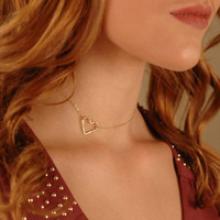 Hammered Heart Choker, Gold Filled, Rose Gold Filled, or Sterling Silver, Layering Jewelry, Hammered Heart Necklace, Delicate Gold Heart