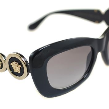 VERSACE MEDUSA 96 4328 GB1/11 Ladies Women Round Oval Sunglasses BLACK GOLD GREY