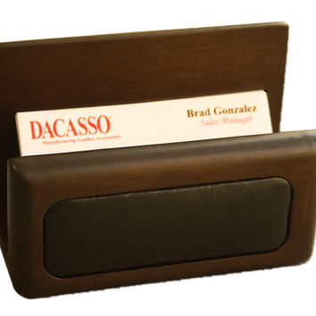 Office Conference Room Desk Tabletop Decorative Walnut And Leather Business Card Holder