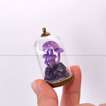 PRE-ORDER - Cute Mushrooms Family in Mini Glass Lantern, Amethyst Crystal, Painted Clay, Handmade, Pretty,  Amazing, Fantastic Pendant