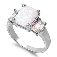 7MM Sterling OCTOBER RAINBOW SPARKLE WHITE LAB OPAL Ring