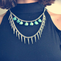 Turquoise Skull & Spike Choker Necklace