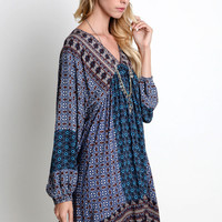 V-Neck Wide Fit Peasant Dress - Dusty Blue