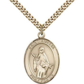 "Saint Amelia Medal For Men - Gold Filled Necklace On 24"" Chain - 30 Day Money... 617759878837"