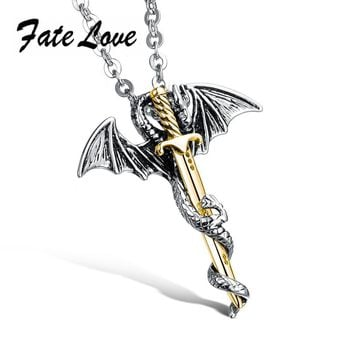 Fate Love Fashion New Brand Men's Flying Dragon Sword 316L Stainless Steel Pendant Necklaces Silver&Gold Color Jewelry FL937J