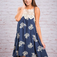 Flowers Everywhere Dress, Navy