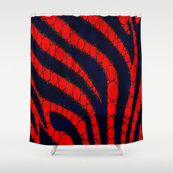 Red and Black Pattern Zebra Stripe Shower Curtain by OCDesigns