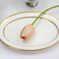 Minton Serving Platter / Ivory Porcelain with Encrusted Gold / Elegant China