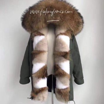 Women's overcoat  fur parka Jacket winter hooded fur Army green coat fur parkas hooded fur women's coat mid length fur parka jacket