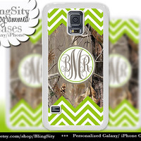 Monogram Galaxy S4 case S5 Lime Green Chevron Stripes Real Tree Camo Deer Personalized Samsung Galaxy S3 Case Note 2 3 Cover Zig Zag