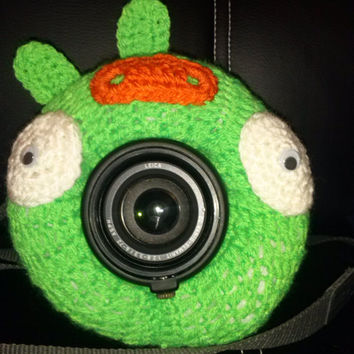SALE, Camera Cover, Photographer Equipment, Colorful Camera Cover, Lens Buddy, Crochet Angry Birds Like