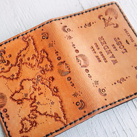 Leather Passport Cover - Custom World Map Hand tooled Leather Passport Wallet - Journey - Not all those who wander are lost - J.R.R. Tolkien