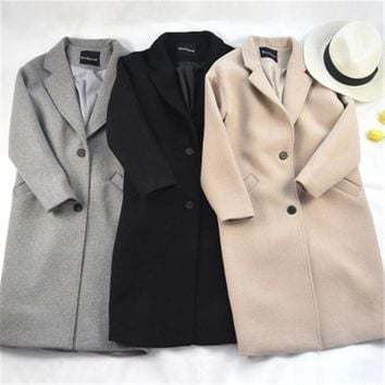 2017 New Korean Classic Wool Coat Autumn Winter Women Cashmere Coat Long Thick Warm Outerwear Casual  Woolen Jackets Female Z107