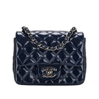 Chanel Navy Quilted Patenet Square Mini Classic Flap Bag