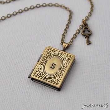 Book Locket Necklace monogram Locket Photo Locket Necklace initial Necklace Vintage Inspired Lovely book locket key necklace small key