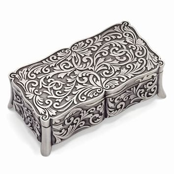 Pewter-tone Finish Floral Rectangle Jewelry Box
