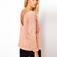 ASOS Top with Scoop Back in Knitted Marl