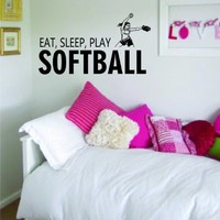 Eat Sleep Play Softball Decal Wall Vinyl Art Sports